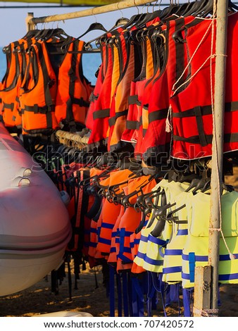High Quality Life Jackets Storage On A Water Sport Station On A Beach In Early Morning