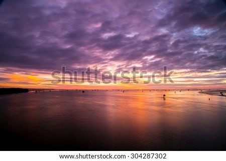 Life of fisherman at Bang ta boon Thailand in morning - stock photo