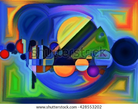 Life of forms series. Arrangement of abstract forms and shape on the subject of art, painting, design and education
