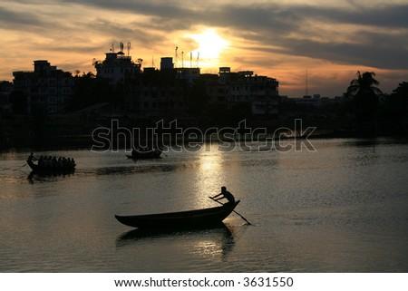 Life on the water in Dhaka city,Bangladesh - stock photo