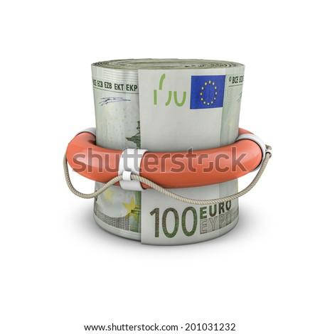 Life ring money roll euros - stock photo