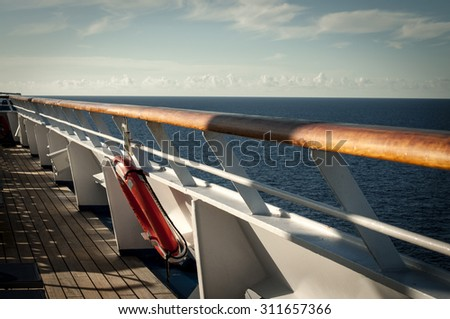 Life Ring on a cruise ship - stock photo