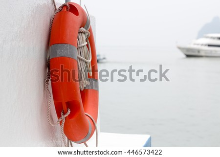 Life ring on the back of boat