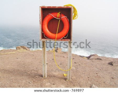 Life saver in Cape Spear, Newfoundland. Cape Spear is the most easterly point in North America. - stock photo