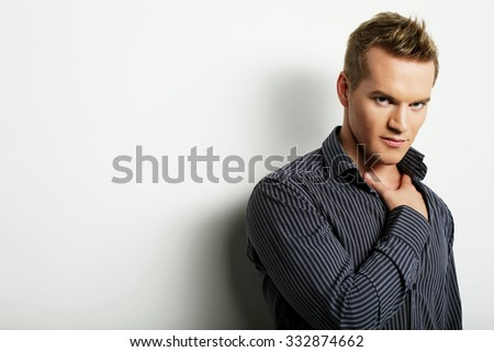 life style and people concept:  handsome man, fashion model - stock photo