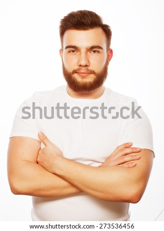 life style and people concept: young bearded man, casual style, close up. Isolated on white background. - stock photo