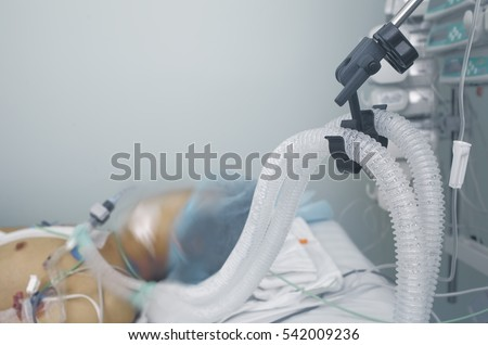 Life support of the patient. Photo with space for text.
