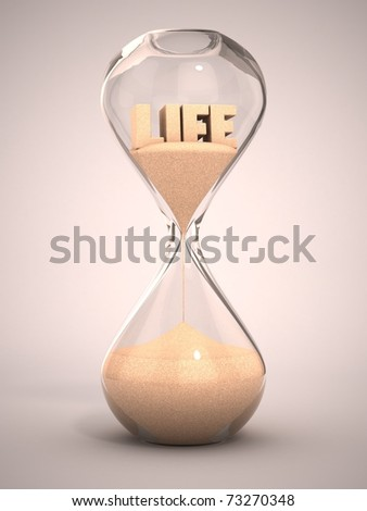 life time passing concept - hourglass, sandglass, sand timer, sand clock 3d illustration - stock photo