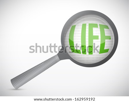 life under magnify search investigation illustration design over a white background - stock photo