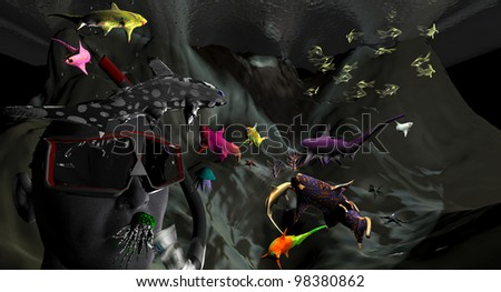 Life under water - 3D picture (rendering) - stock photo