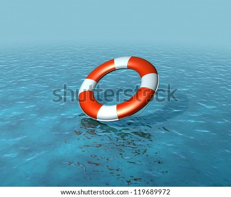 Lifebelt, buoy being thrown into sea, rescuing, rising sea levels - stock photo