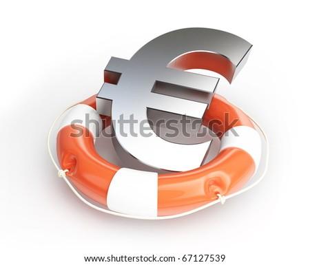 lifebelt euro isolated on a white background - stock photo