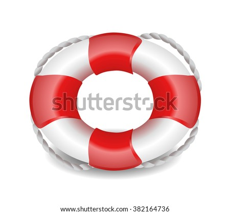 lifebelt, lifebuoy isolated on white red and white jpeg version