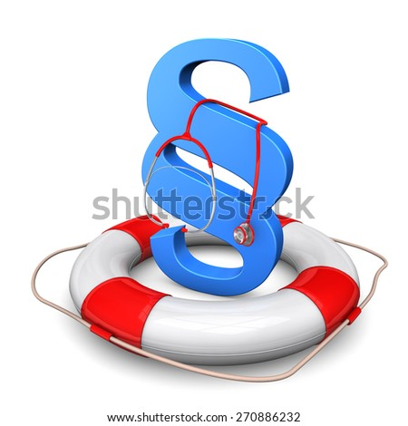 Lifebelt with blue paragraph and red stethoscope. - stock photo
