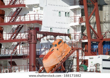 Lifeboat on a freight vessel