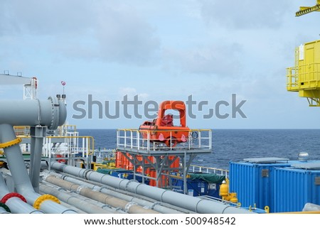 Lifeboat on deck of a tanker ship