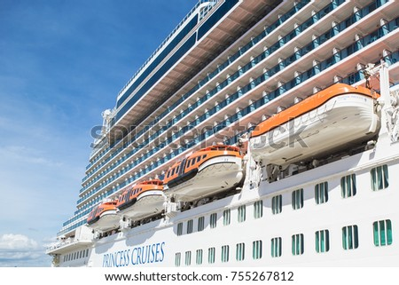 Lifeboats Installed On Side Cruise Ship Stock Photo - Port side of a cruise ship
