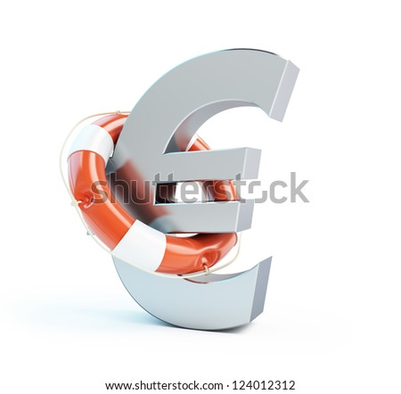 lifebuoy euro symbol isolated on a white background - stock photo