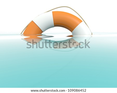 Lifebuoy in water. Rescue concept. 3D model - stock photo