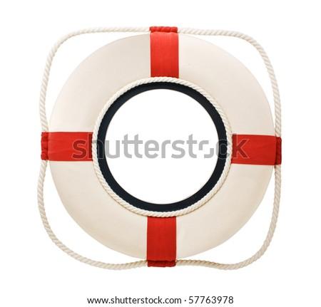 lifebuoy isolated on a white background - stock photo