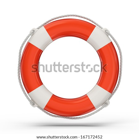 lifebuoy isolated on a white background. 3d illustration - stock photo