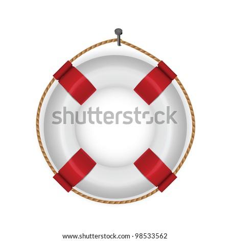 lifebuoy isolated on white - stock photo