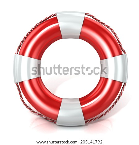 Lifebuoy isolated on white. Front view