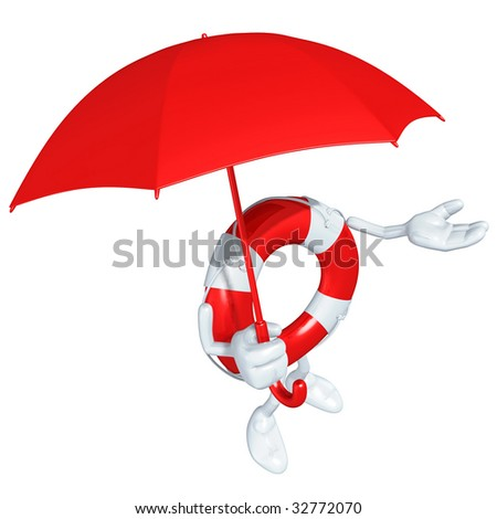Lifebuoy Mascot Figure - stock photo