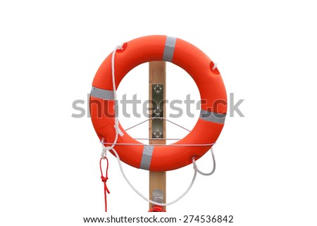 Lifebuoy on the harbor, white background. - stock photo