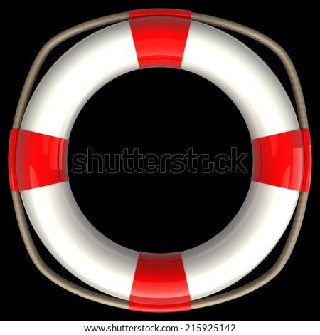 Lifebuoy. realistic. isolated on black background. 3d illustration - stock photo