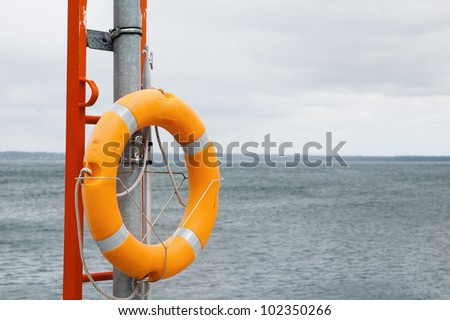 Lifebuoy ring on a background of the sea