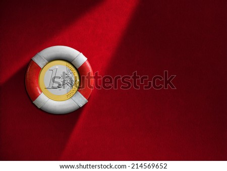Lifebuoy with Euro Coin / Red and white lifebuoy hanging to a red velvet wall with one euro coin inside - Financial crisis concept - stock photo