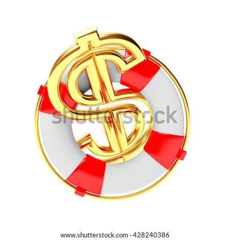 Lifebuoy with golden Dollar Sign isolated on white background. 3D illustration