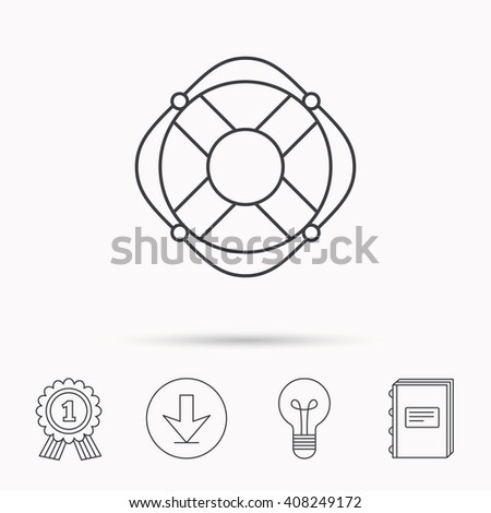 Lifebuoy with rope icon. Lifebelt sos sign. Lifesaver help equipment symbol. Download arrow, lamp, learn book and award medal icons. - stock photo