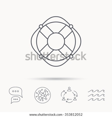 Lifebuoy with rope icon. Lifebelt sos sign. Lifesaver help equipment symbol. Global connect network, ocean wave and chat dialog icons. Teamwork symbol. - stock photo