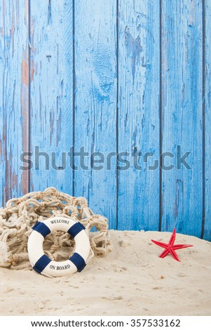 Lifebuoy with welcome at the beach  - stock photo