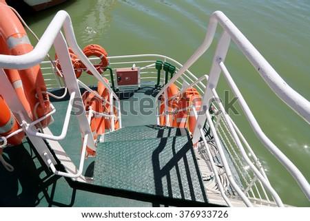 lifebuoys (Lifesavers) in the passenger ship   - stock photo