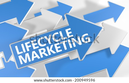 Lifecycle Marketing 3d render concept with blue and white arrows flying over a white background. - stock photo