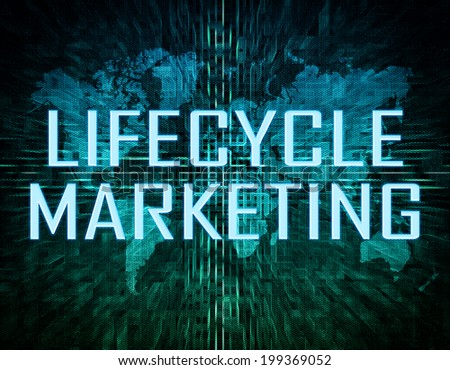 Lifecycle Marketing text concept on green digital world map background  - stock photo