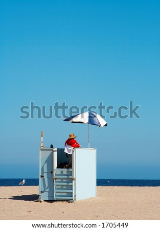 Lifeguard and sea gull on duty - stock photo