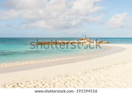 Lifeguard at the tropical beach - stock photo