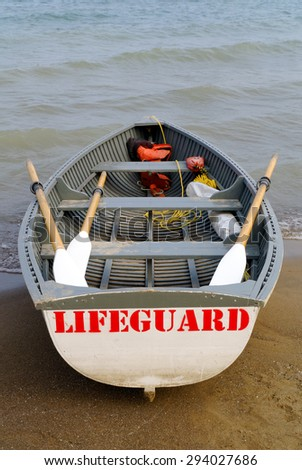 Lifeguard boat with visible sign Lifeguard - stock photo