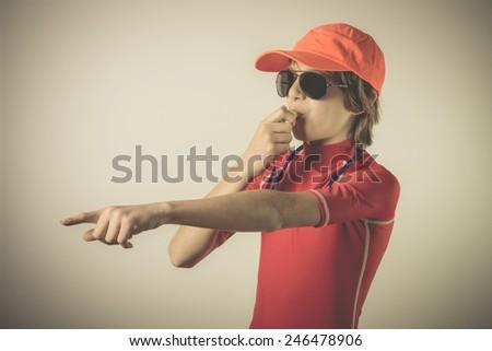 lifeguard boy - stock photo