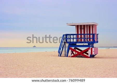 Lifeguard cabin on empty beach, Miami Beach, Florida, USA, safety concept. - stock photo
