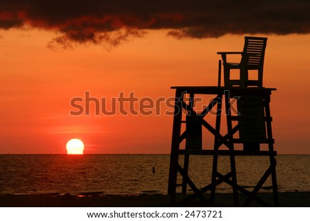 Lifeguard Chair a Fort Desoto Park near St. Pete Florida - stock photo