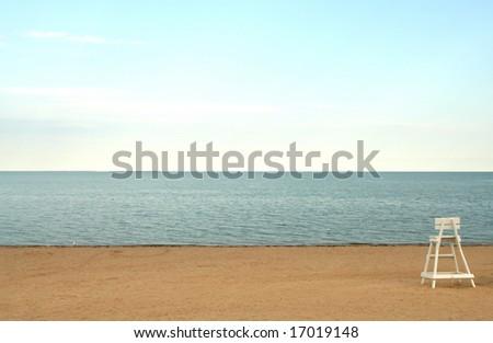 Lifeguard chair on a deserted New England Beach. - stock photo