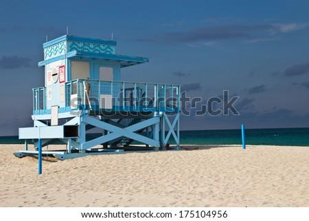 Lifeguard hut on Haulover Park Beach in Florida - stock photo
