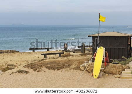 Lifeguard hut on the Carcavelos beach at Lisbon, Portugal - stock photo