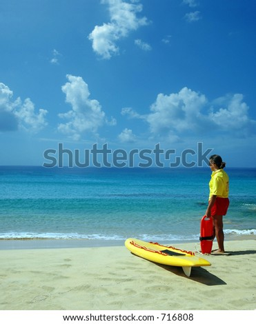 lifeguard in beach - stock photo
