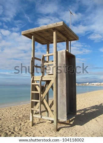 lifeguard off duty, tower observation - stock photo